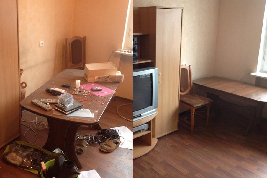 уборка в однакомнатной квартире